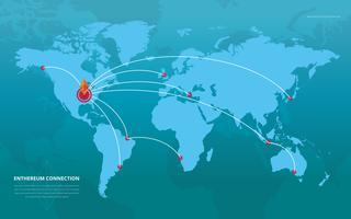Rede Ethereum e Ilustração de Conexão vetor