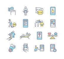 conjunto de ícones de cores rgb para dependência de gadgets