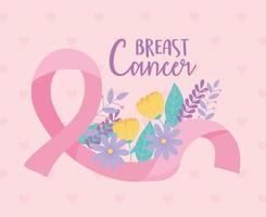 banner de conscientização do câncer de mama com fita rosa e flores