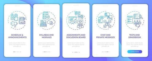 tela de página de aplicativo móvel de integração de sistema de gerenciamento de curso online com conceitos