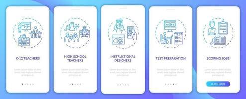 tipos de trabalhos de ensino online onboarding tela de página de aplicativo móvel com conceitos vetor