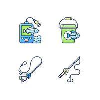 conjunto de ferramentas para pesca de ícones de cores rgb