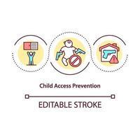 ícone do conceito de prevenção de acesso infantil vetor