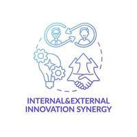 ícone do conceito de sinergia de inovação interna e externa vetor