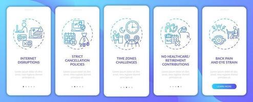 Desafios de ensino de inglês online na tela da página do aplicativo móvel com conceitos