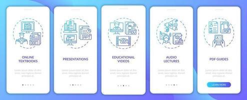 recursos digitais de ensino on-line integração tela da página do aplicativo móvel com conceitos
