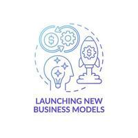 lançamento de ícone de conceito de novos modelos de negócios vetor