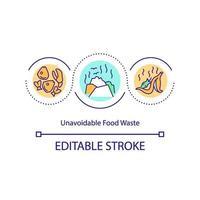 ícone de conceito de desperdício alimentar inevitável