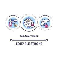 ícone do conceito de regras de segurança de armas vetor
