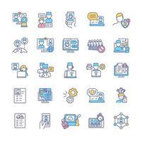 conjunto de ícones de cores rgb telemedicina