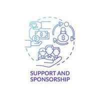 ícone do conceito de suporte e patrocínio vetor