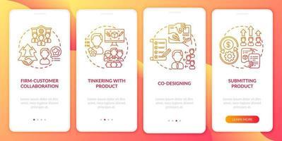 tipos de co-criação na tela da página do aplicativo móvel com conceitos vetor