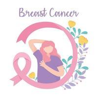 banner de conscientização sobre câncer de mama com mulher fazendo auto-exame