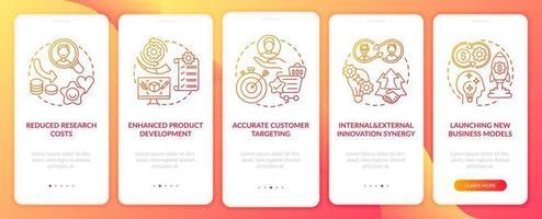 a inovação aberta agrega a tela da página do aplicativo móvel com conceitos