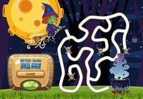 Atividade de jogo de labirinto para crianças no tema fantasia vetor