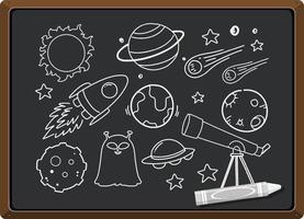 elemento de espaço desenhado à mão no quadro-negro vetor