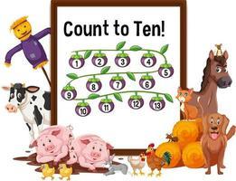 conte até dez tabuleiro com animais de fazenda vetor