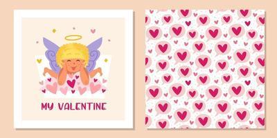 Cupido engraçado com auréola e corações. anjo, querubim, criança, menino. padrão sem emenda do dia de São Valentim, textura, plano de fundo. modelo de design de cartão de felicitações. vetor