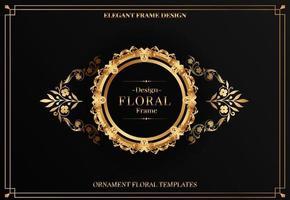 moldura redonda dourada elegante com ornamento floral vetor
