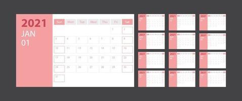 calendário 2021 semana começar domingo modelo de planejador de design corporativo com tema rosa vetor