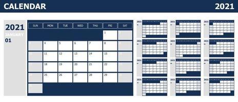 calendário 2021 semana início domingo planejador de design com azul e cinza