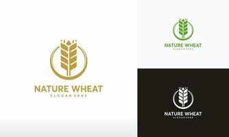 vetor de conceito de design de logotipo de trigo orgânico, símbolo de grão de trigo moderno, símbolo de logotipo de agricultura