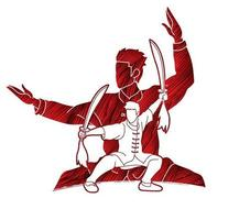 lutador de kung fu arte marcial com ação de espadas vetor