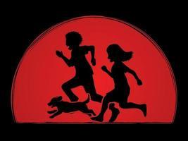 menino e menina correndo juntos com cachorrinho vetor