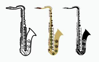 instrumento musical de orquestra de saxofone vetor