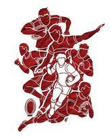 ação de jogadores de rugby projetada com pincel grunge