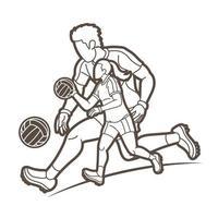 esboço de jogadores masculinos e femininos de futebol gaélico vetor