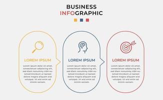 modelo mínimo de infográficos de negócios. linha do tempo com 3 etapas, opções e ícones de marketing vetor