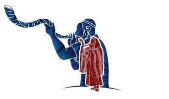 povo judeu tocando a silhueta do shofar vetor