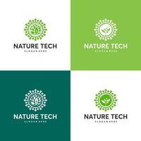 conjunto de modelo de logotipo de tecnologia da natureza, conceito de logotipo de tecnologia verde, tecnologia de crescimento, símbolo de logotipo de árvore de tecnologia