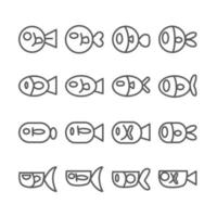 ícone de peixe. contorno e ícones de linha fina em fundo branco isolado. tema animal e marinho. vetor