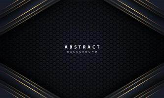 seta de linha de ouro abstrato em preto com hexágono mesh design moderno luxo futurista tecnologia fundo ilustração vetorial. vetor
