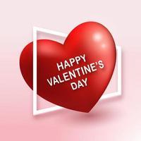 grande forma de coração vermelho um no chão rosa, rompendo a borda da moldura branca com texto de feliz dia dos namorados. Profundidade 3D isométrica como ilustração vetorial. evento de amor e tema de casamento romântico vetor