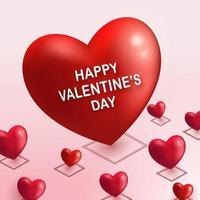 forma de coração vermelho grande e muitos corações pequenos no chão rosa como pino de localização com texto de feliz dia dos namorados. Profundidade 3D isométrica como ilustração vetorial. evento de amor e tema de casamento romântico. vetor