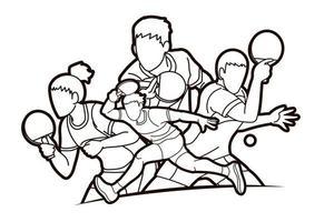grupo de jogadores de pingue-pongue, homens e mulheres, esboço vetor