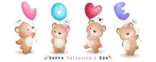 urso doodle fofo para coleção de dia dos namorados vetor