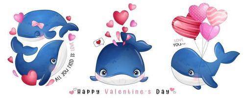 baleia doodle fofa para coleção de dia dos namorados vetor