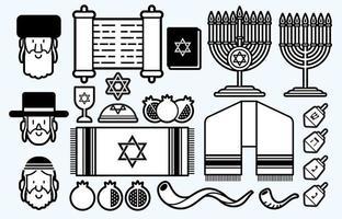 contorno do conjunto de ícones de desenho animado judeu vetor