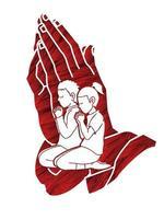 menino e menina orando juntos vetor