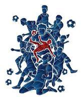grupo de jogadores de futebol masculino poses de ação vetor
