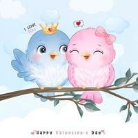 pássaros bonitos do doodle para o dia dos namorados vetor