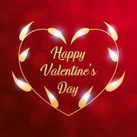 folhas douradas na moldura do colar com mensagem de feliz dia dos namorados em fundo vermelho bokeh embaçado. conceito de acessórios de elegância romântica e luxuosa. ilustração vetorial e design gráfico de papel de parede vetor