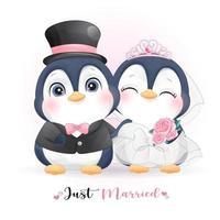 doodle pinguim fofo com roupas de casamento para o dia dos namorados vetor