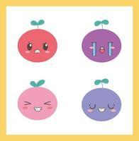frutas kawaii de desenho animado com diferentes expressões de rostos vetor