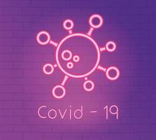 luz neon com ícone de prevenção de coronavírus vetor