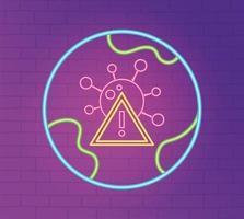 luz neon com ícone de prevenção de coronavírus